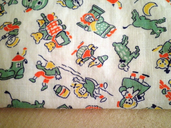 1930s vintage nursery rhyme fabric remnant mother by for Retro nursery fabric