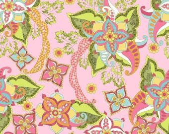 Bohemian Pink Fabric, Riley Blake, Floral in pink teal green yellow, Yard