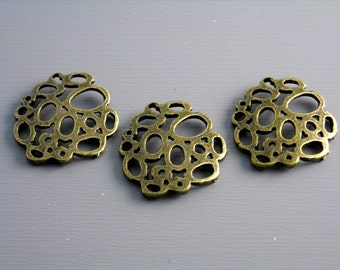 30% off - CHARM-AB-BUB-16MM - Antique Bronze Bubble Charms - 6 pcs