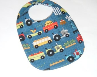 Baby Boy Bib - Farm - Tractors - New Baby Gift Under 10