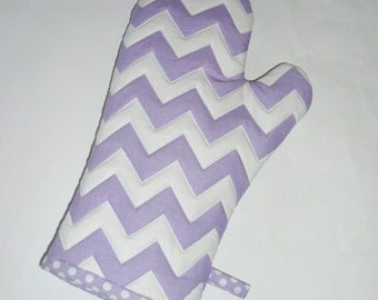Oven Mitt - Purple Chevrons - Lavender - Lilac - Orchid- Gift for Mom - Gift under 20