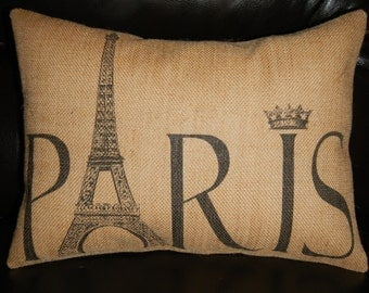 Paris Burlap Pillow, Eiffel Tower, Travel, Shabby chic, French, INSERT INCLUDED