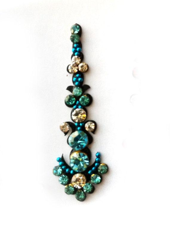 Peacock Blue Crystal STONE BINDI,Indian Bindis,India, Self Adhesive Tattoo Body Art Wedding & Bridal sticker