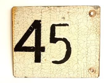 "Vintage / Antique Metal ""45"" Train Track Number Sign, Double-Sided (12""x10"") - Industrial Home Decor, Collectible Signage, Man Cave"