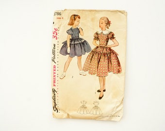 Vintage Simplicity Pattern 3786, Girl's One-Piece Dress, Size 8 (c.1950s) - Sewing Collectible, Ephemera, Vintage Clothing Pattern