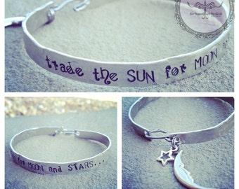 True Blood inspired hand-stamped silver bangle cuff 'trade the sun for moon and stars'