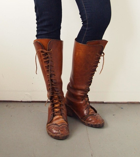 boots vintage knee high leather lace up size 7 5