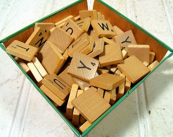 Vintage Scrabble Game T - Z Letter Tiles - Wooden T U V W X Y Z Pieces for Repurposing Upscaling Upcycling - Set of 60 Wood Tiles & Blanks