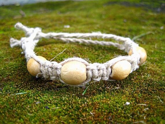 Macrame Hemp Bracelet with Natural Round Wooden Beads