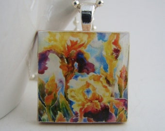 Colorful Irises Pendant with Free Necklace
