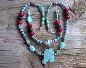 Chevrons,magnesite,copper ,buri beads,necklace 21 inch -bracelet 8 1/2 inch