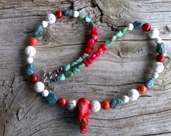 CORAL,magnesite,turquoise,beaded necklace 21 inch