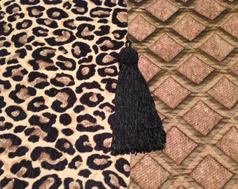 Fireplace Mantel Runner, Leopard Chenille with Taupe Chenille Diamond Reverse, Black Tassels