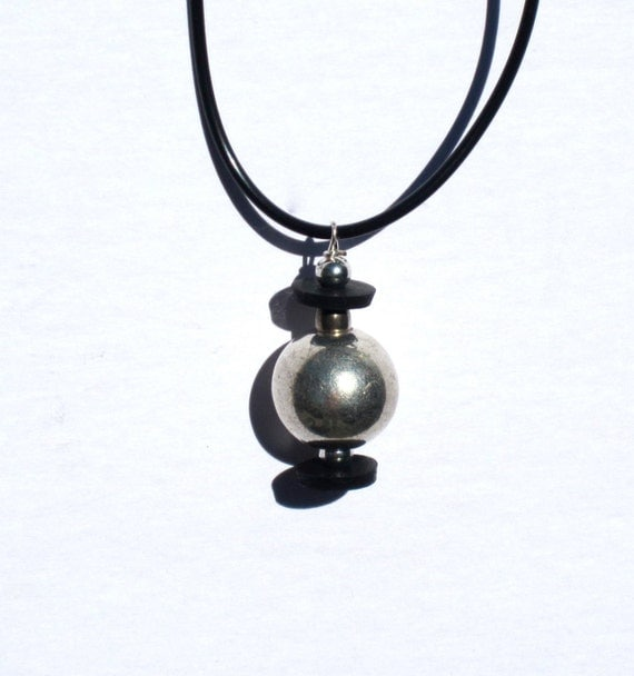 Upcycled / Recycled / Necklace / Silver / Black / Inner Tube / Salvaged Beads
