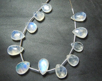 Rainbow Moonstone Briolett Faceted Pear Drops Size 6x9mm to 7x10mm Approx Blue Fire  Wholesale Price