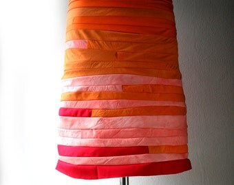 Spring-summer cotton skirt (orange-pink-red)