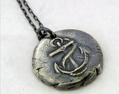 Anchor Charm Necklace, Wax Seal Style Fine Silver Nautical, Maritime Oxidized Silver Jewelry by E. Ria Designs