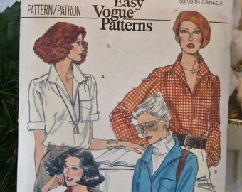 UNCUT Vintage Very Easy Vogue 1980's Classy Misses Blouse Shirt Rectangular Collar 9906 Sewing Pattern Size 10