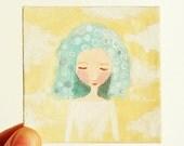 Folk art painting, small whimsical girl on canvas, original acrylic painting, cloud girl