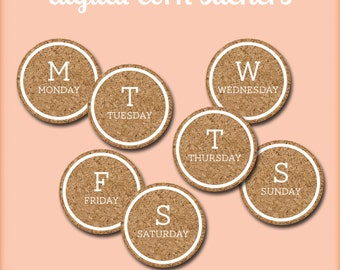 Days of the Week Digital Cork Circles