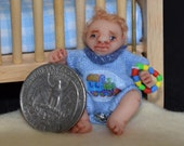 Dollhouse Baby Doll - 1/12 Scale Boy - Handmade OOAK Polymer Clay - Moveable Arms and Legs - Caleb Michael