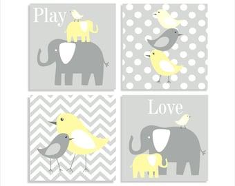 Elephants and Birds, Chevron Canvas, Children's Wall Art, Nursery Wall Art, Children's Canvas- Set of four  stretched canvas