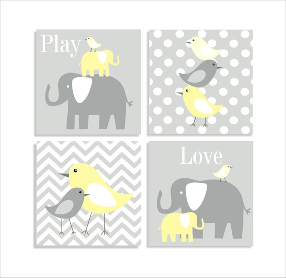 Items similar to elephants and birds chevron canvas for Childrens canvas ideas