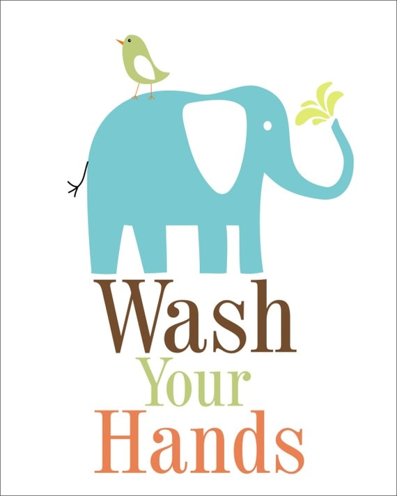 Bathroom male sign - Items Similar To Elephant Wash Your Hands Children S
