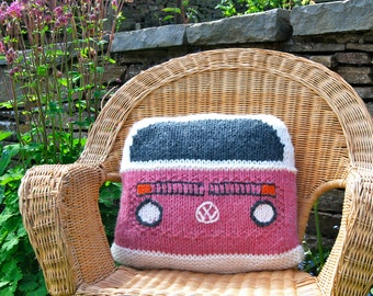 Knitting Pattern - Knit a Bay Campervan Cushion based on the VW Bus (Kombi)