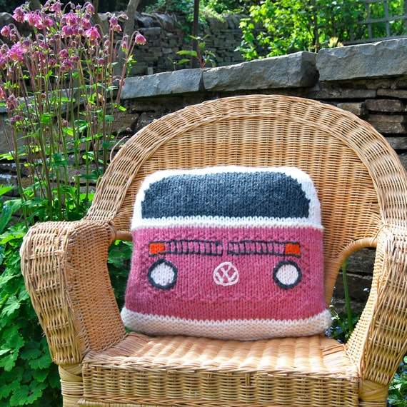 Knitting Pattern Knit a Bay Campervan Cushion based on the