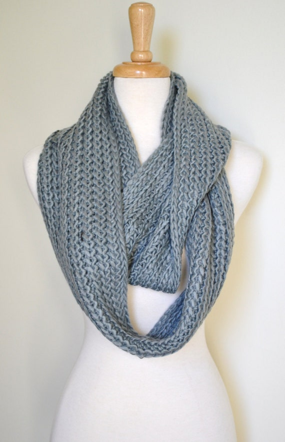 GREY Super Long Chunky Knitted Infinity Circle Loop Scarf Women's Fashion Accessories Gift ideas
