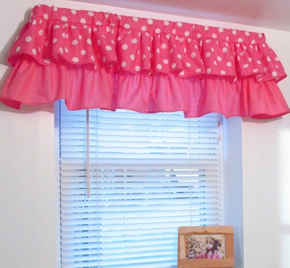 tiered ruffled valance pink polka dot minnie mouse custom sizing