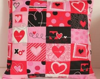 12x12 Checkerboard Hearts Decorative Pillow