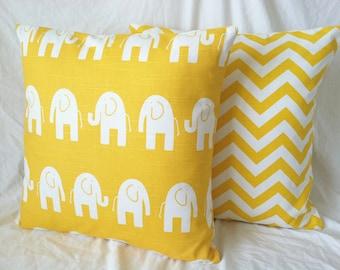 Yellow Euro Shams - Set of Two, Chevron Modern Elephant, Yellow White, 24 x 24, Cushion Covers, Nursery Pillows, Dorm Pillows, Pillow Covers