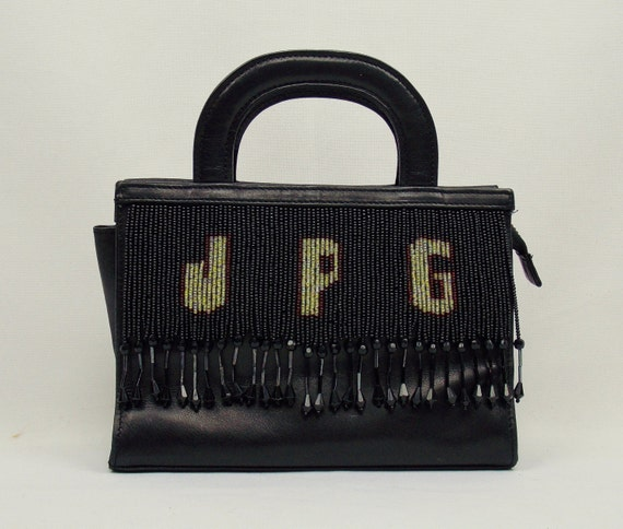 Vintage JEAN PAUL GAULTIER Rare Evening Fringe Beaded Logo Leather CockTail Bag  Purse .