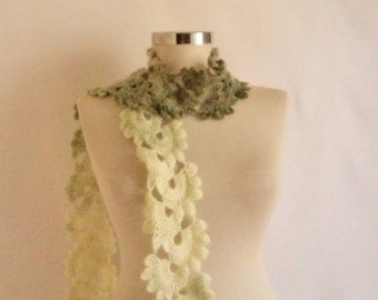 Scarf, green white Necklace,collar, cowl ,capelet ,collar ,long shawl , scarves ,stole,handmade,crochet,gift for her,necklace,warm