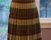 green and brown pleated reversible skirt