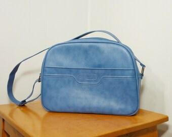 sky blue 60s vintage Samsonite suitcase carry all overnight bag