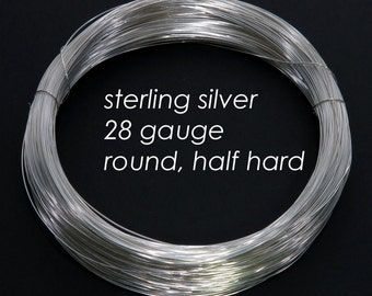 Sterling Silver Wire, 28ga 0.3mm - Round, Half Hard - 20 feet