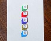 Fun, Simple & Colourful 50th Birthday Card
