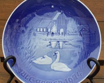 VINTAGE B&G Copenhagen Porcelain Swan Christmas Plate Dated 1974