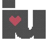 I Heart U Cross Stitch Pattern Chart Valentines Day Cross Stitch Hoop Art Cross Stitch