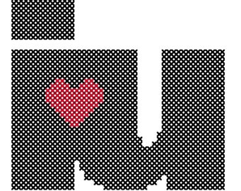 I Heart U Cross Stitch Pattern Chart Valentines Day Cross Stitch Hoop Art Cross Stitch
