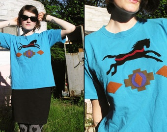 80s 90s SOUTHWESTERN Horse Applique T Shirt top, Small (youth L)