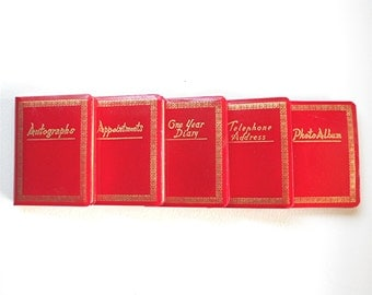 Personal Book Set, Red Mid Century Office Accessory