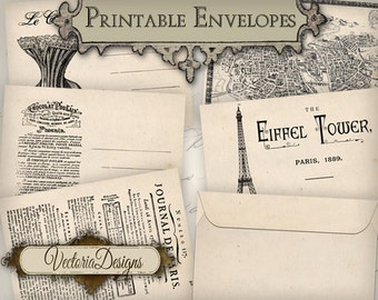 Paris Envelopes Envelopes Printable Envelopes french images instant download digital collage sheet VD0338
