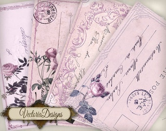 Pink Postcard Papers 6 x 4 inch printable images instant download digital collage sheet VD0418