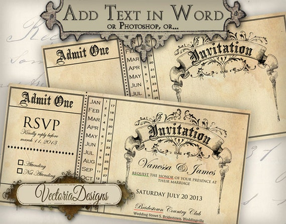 Wedding Ticket Invitations: Printable Invitation Ticket 6 X 3 Inch Editable Wedding