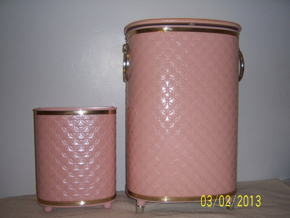 1960s Pink Laundry Clothes Hamper And Waste By GuesswhatIhave