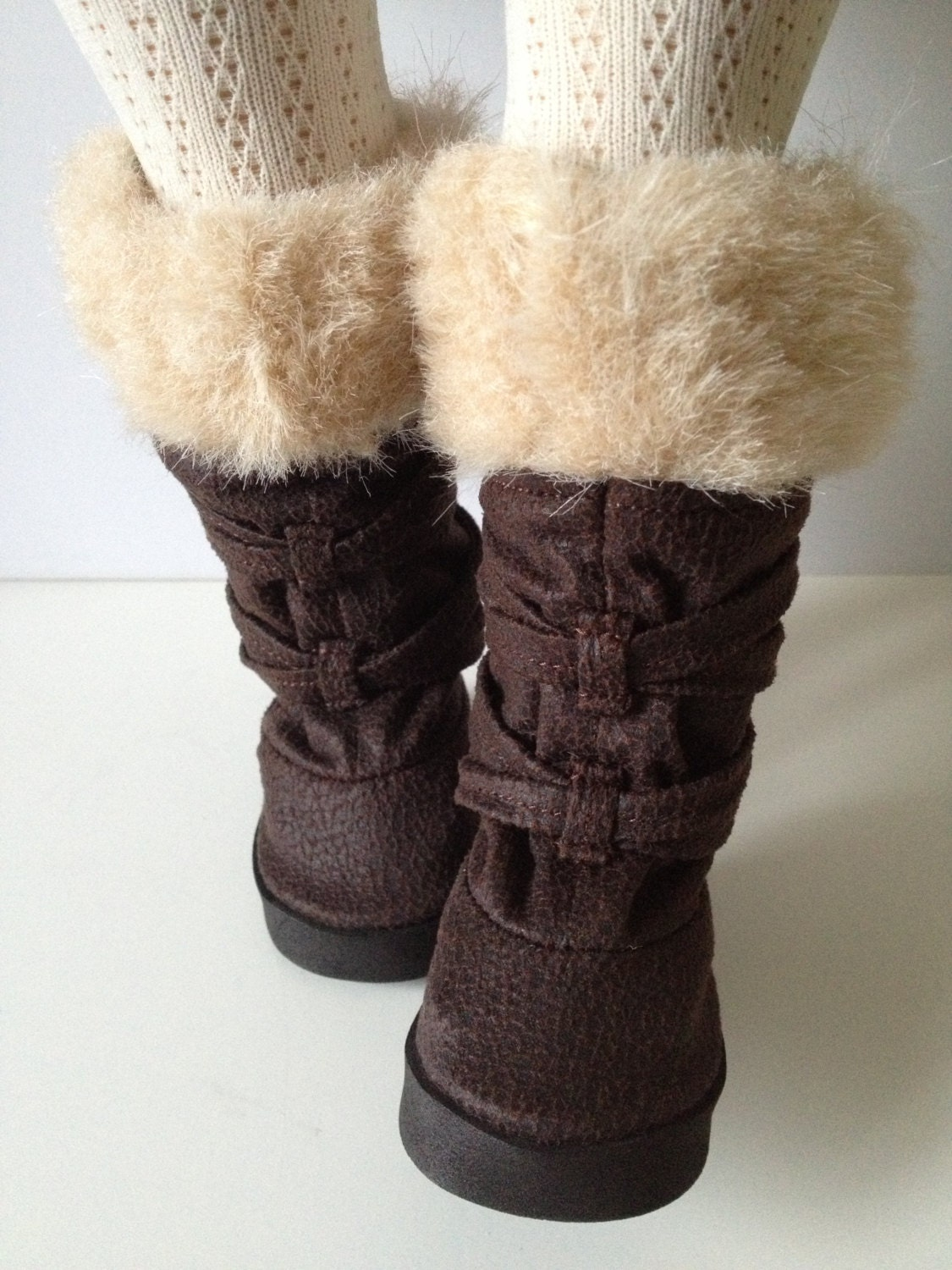 fur trim knee high boots for american dolls